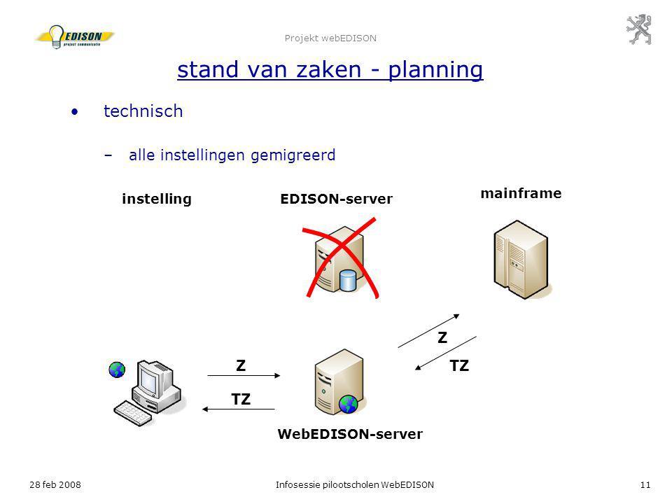 Projekt webEDISON stand van zaken - planning