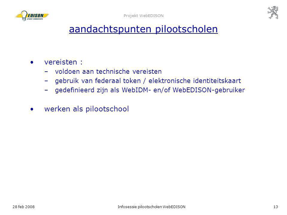 Projekt WebEDISON aandachtspunten pilootscholen