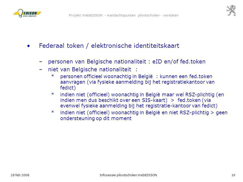 Projekt WebEDISON - Aandachtspunten pilootscholen- vereisten