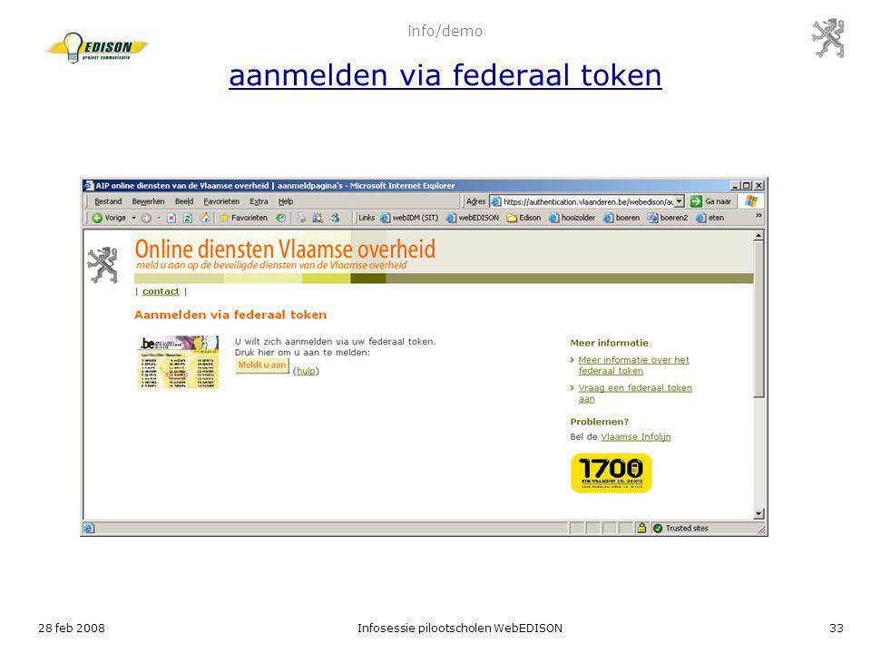 info/demo aanmelden via federaal token
