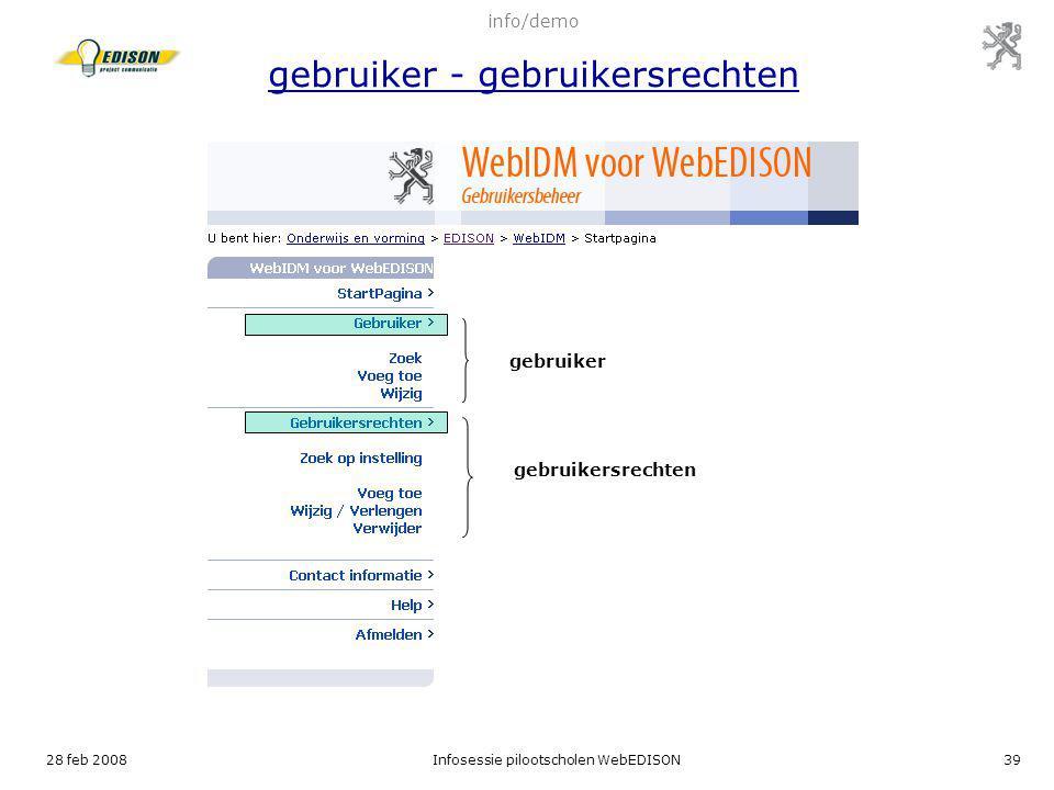 info/demo gebruiker - gebruikersrechten