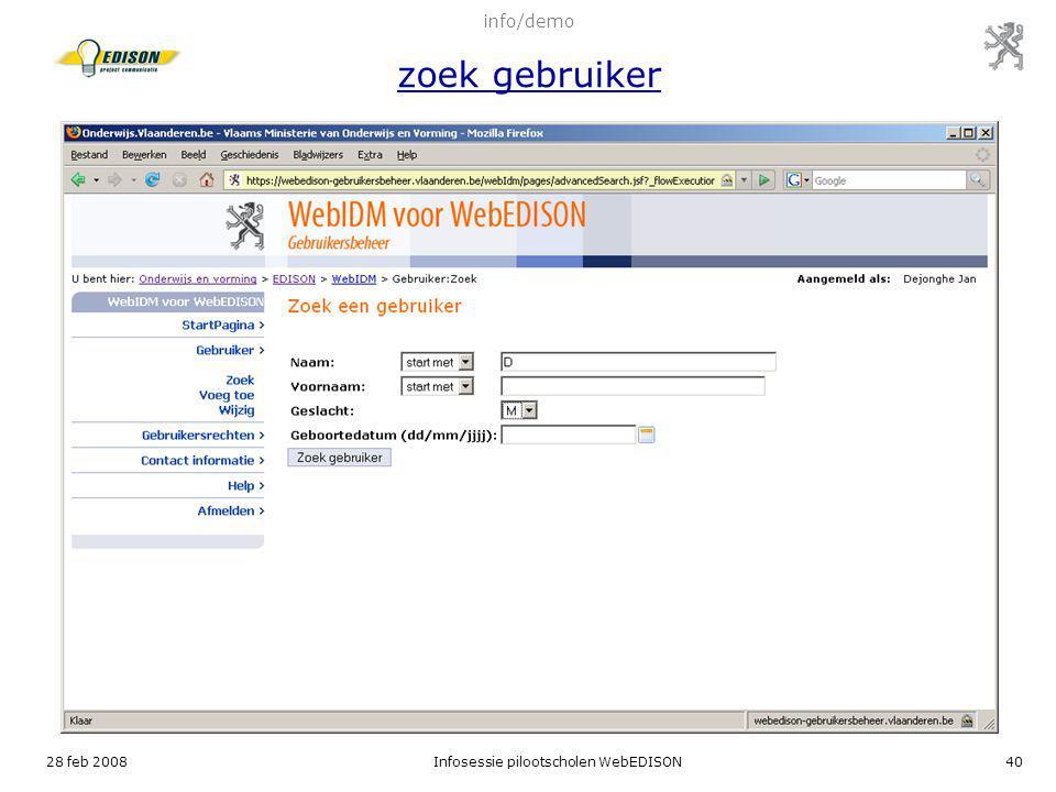 info/demo zoek gebruiker