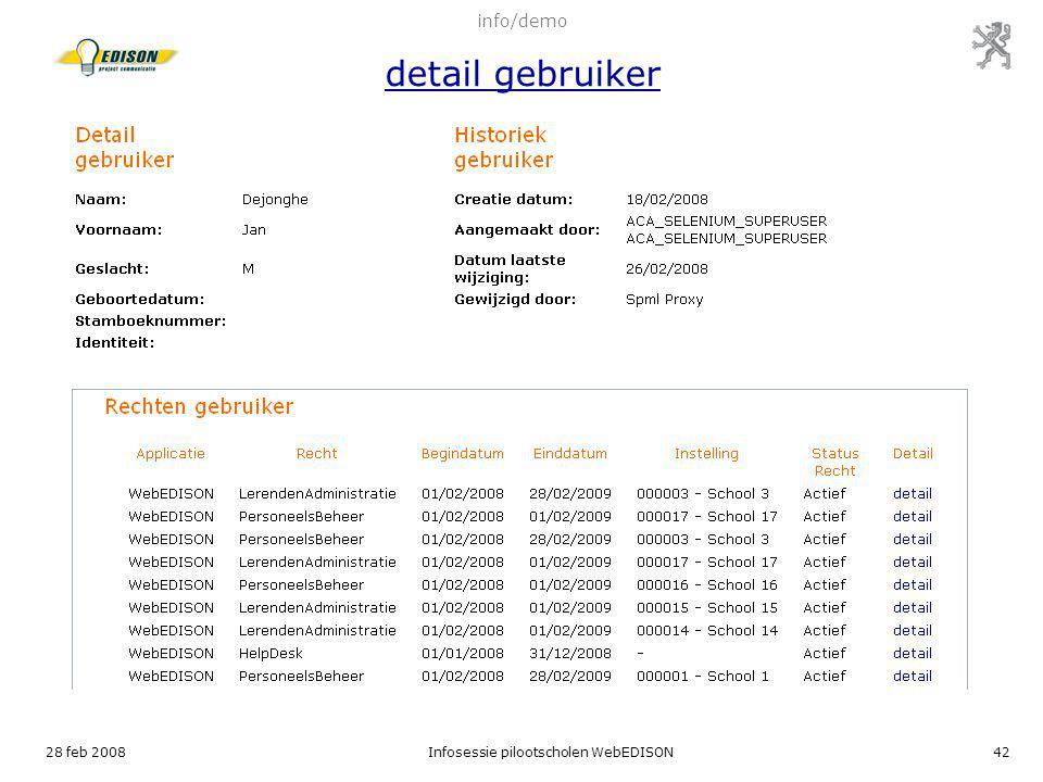 info/demo detail gebruiker
