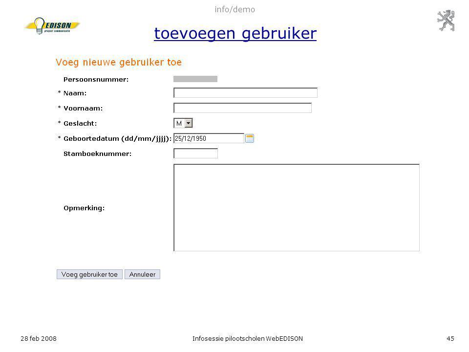 info/demo toevoegen gebruiker