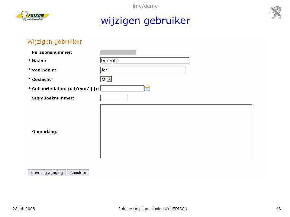 info/demo wijzigen gebruiker