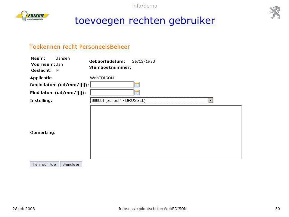 info/demo toevoegen rechten gebruiker