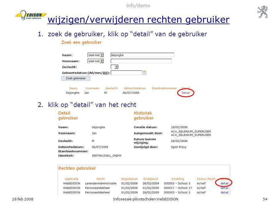 zoek de gebruiker, klik op detail van de gebruiker