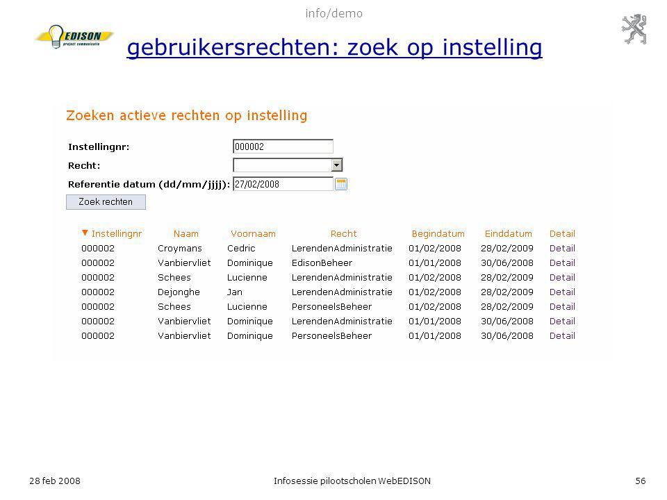 info/demo gebruikersrechten: zoek op instelling