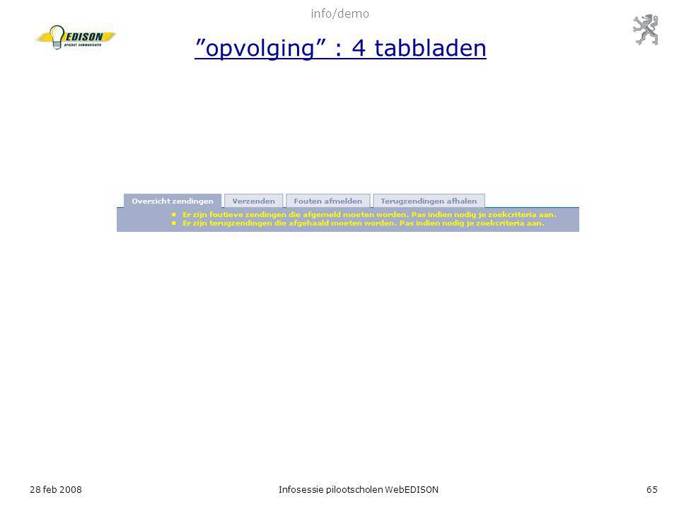 info/demo opvolging : 4 tabbladen