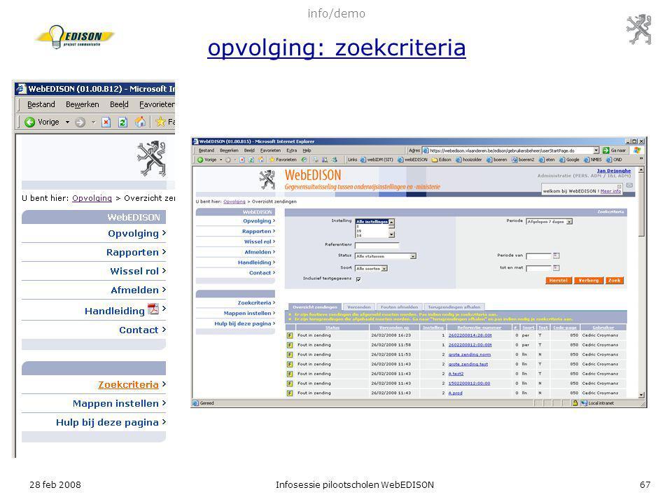 info/demo opvolging: zoekcriteria