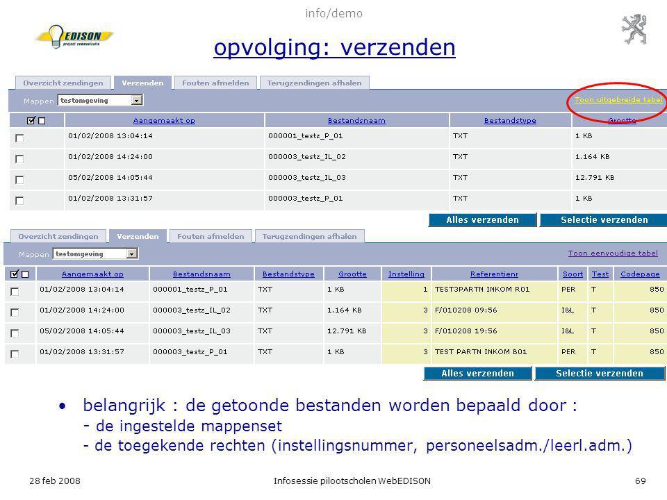 info/demo opvolging: verzenden