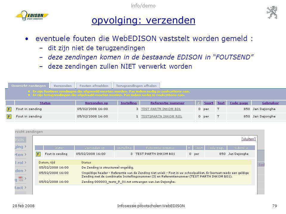 eventuele fouten die WebEDISON vaststelt worden gemeld :