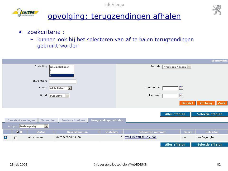 info/demo opvolging: terugzendingen afhalen