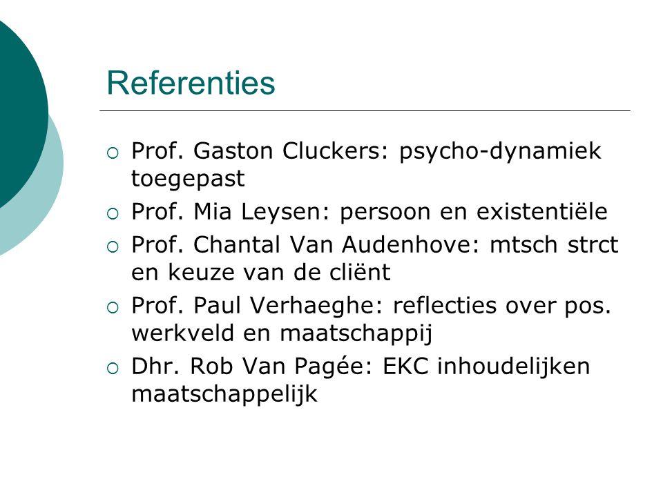 Referenties Prof. Gaston Cluckers: psycho-dynamiek toegepast
