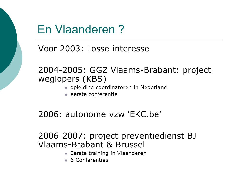 En Vlaanderen Voor 2003: Losse interesse