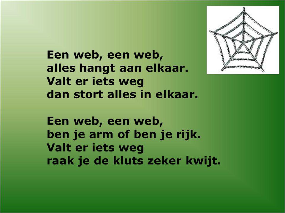Een web, een web, alles hangt aan elkaar. Valt er iets weg. dan stort alles in elkaar. ben je arm of ben je rijk.