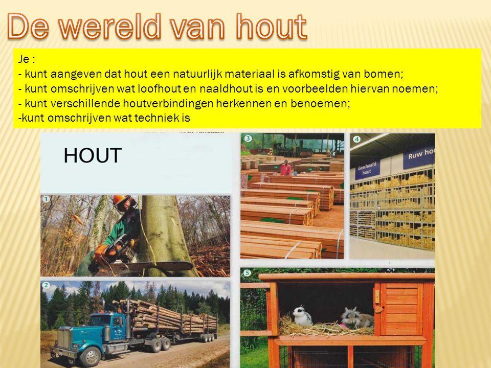 De wereld van hout Je : - kunt aangeven dat hout een natuurlijk materiaal is afkomstig van bomen;