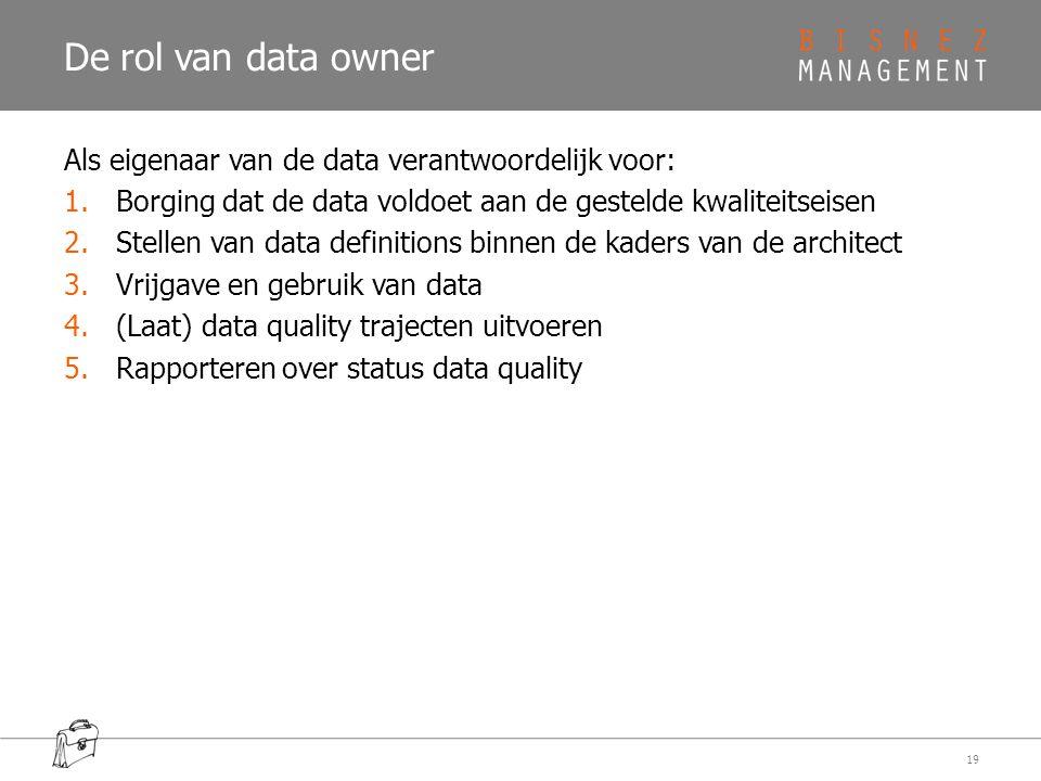 De rol van data owner Als eigenaar van de data verantwoordelijk voor: