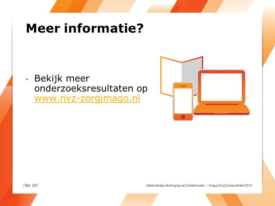 Meer informatie Bekijk meer onderzoeksresultaten op www.nvz-zorgimago.nl