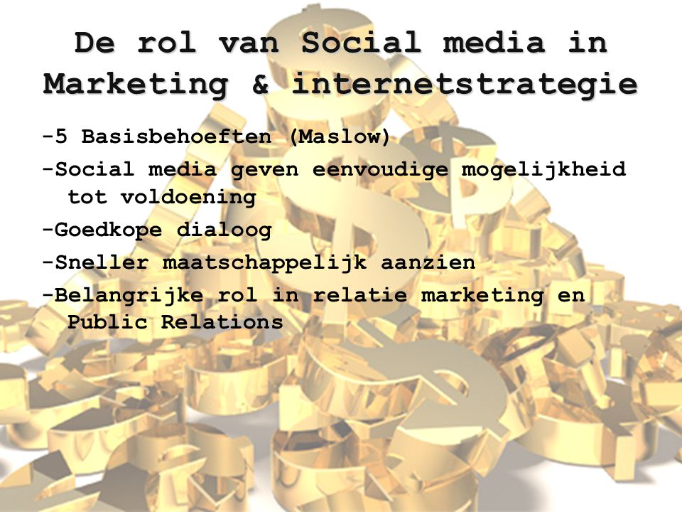 De rol van Social media in Marketing & internetstrategie