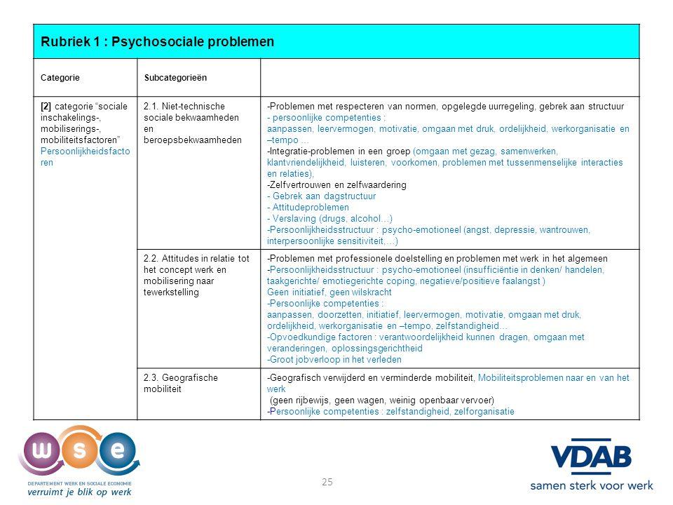 Rubriek 1 : Psychosociale problemen
