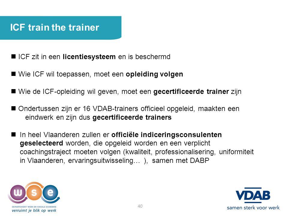 ICF train the trainer  ICF zit in een licentiesysteem en is beschermd