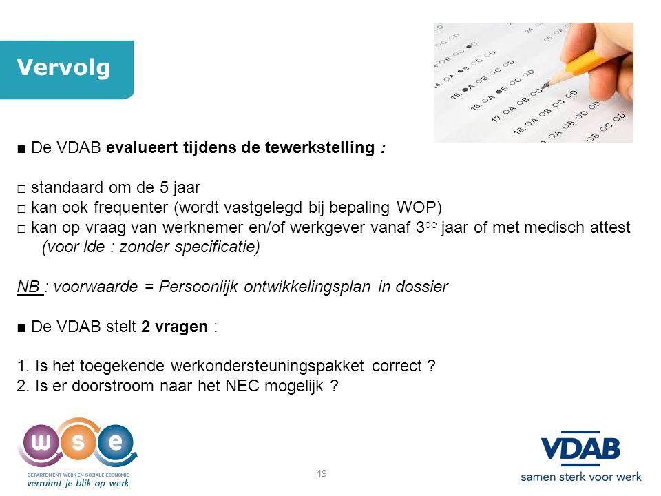 Vervolg ■ De VDAB evalueert tijdens de tewerkstelling :