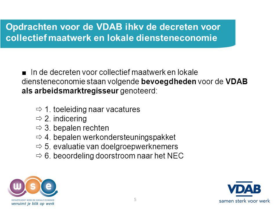 Opdrachten voor de VDAB ihkv de decreten voor collectief maatwerk en lokale diensteneconomie