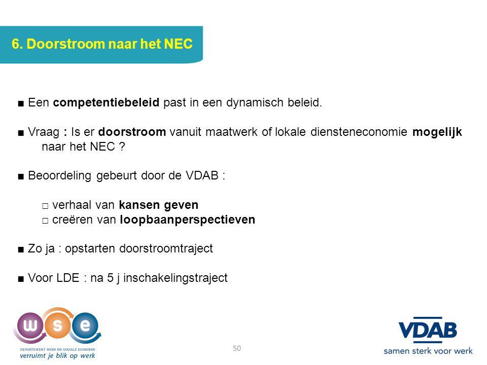 6. Doorstroom naar het NEC