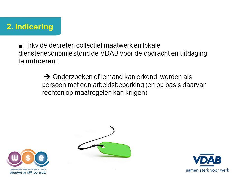 2. Indicering ■ Ihkv de decreten collectief maatwerk en lokale diensteneconomie stond de VDAB voor de opdracht en uitdaging te indiceren :