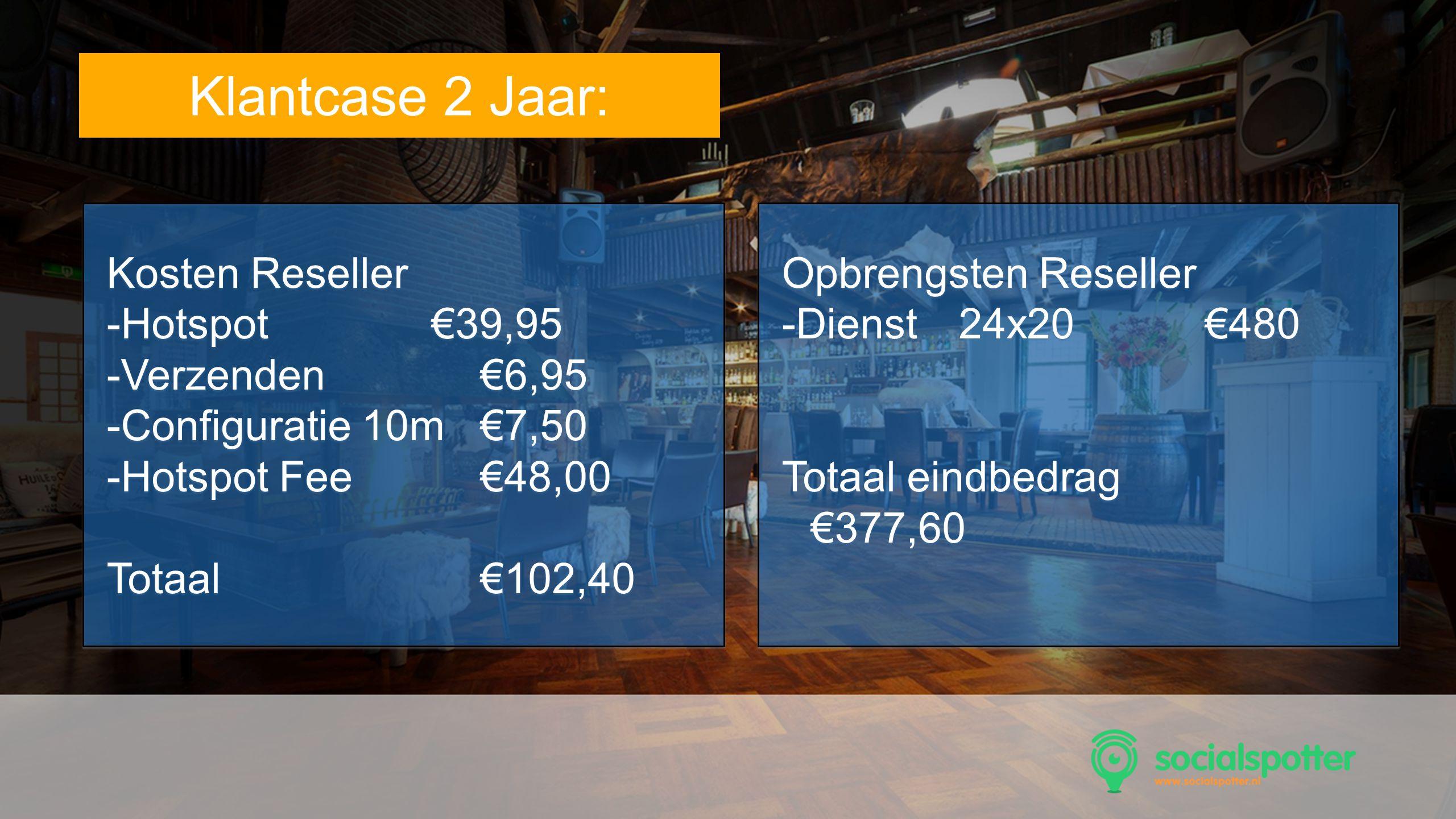 Tekst Klantcase 2 Jaar: Kosten Reseller Hotspot €39,95 Verzenden €6,95