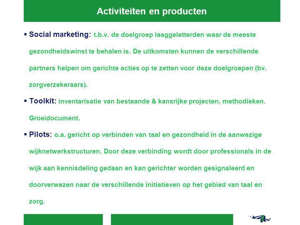 Activiteiten en producten