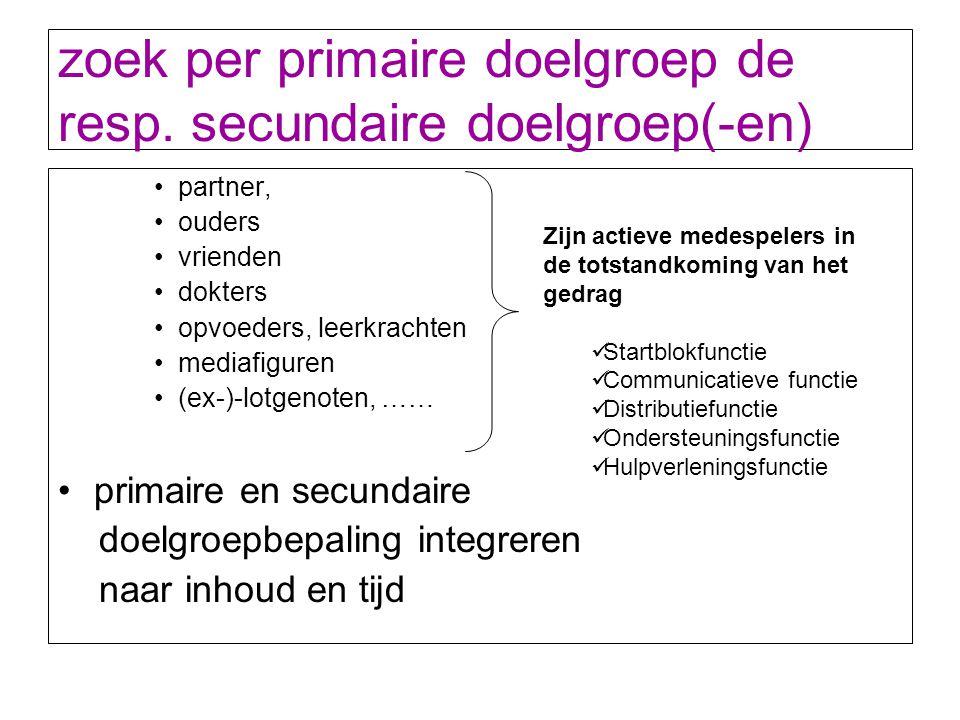 zoek per primaire doelgroep de resp. secundaire doelgroep(-en)