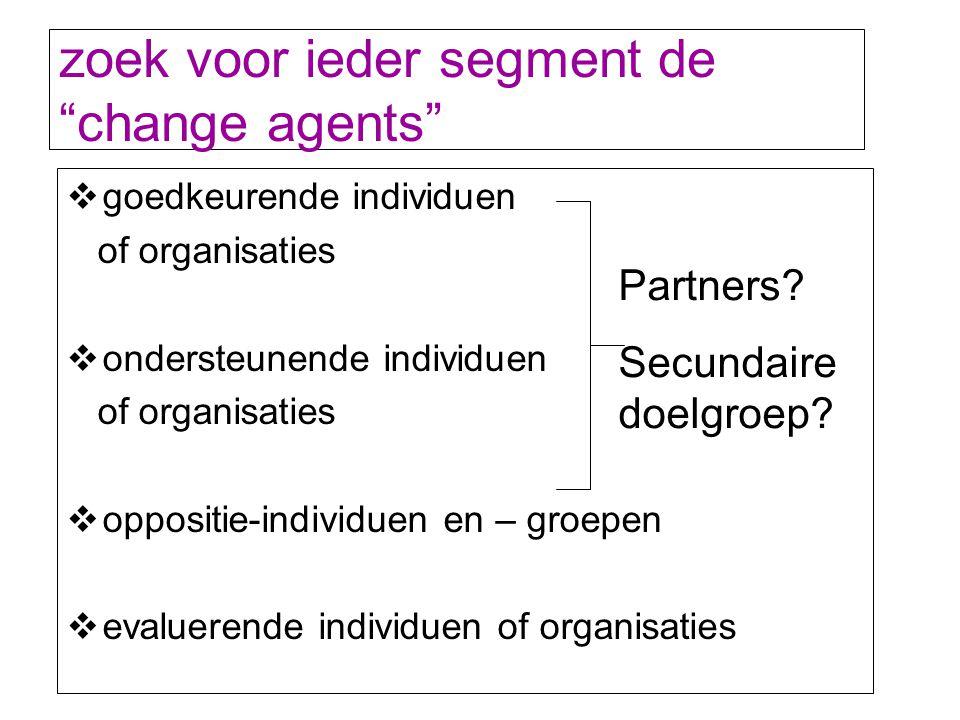zoek voor ieder segment de change agents