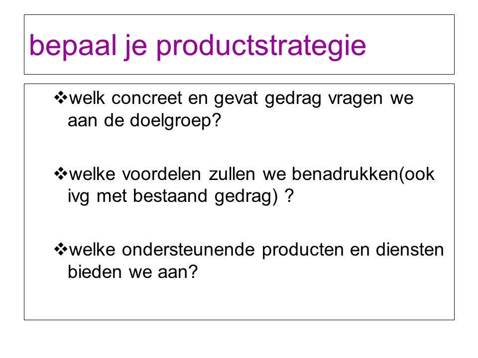 bepaal je productstrategie