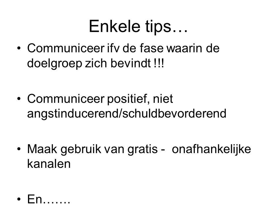 Enkele tips… Communiceer ifv de fase waarin de doelgroep zich bevindt !!! Communiceer positief, niet angstinducerend/schuldbevorderend.