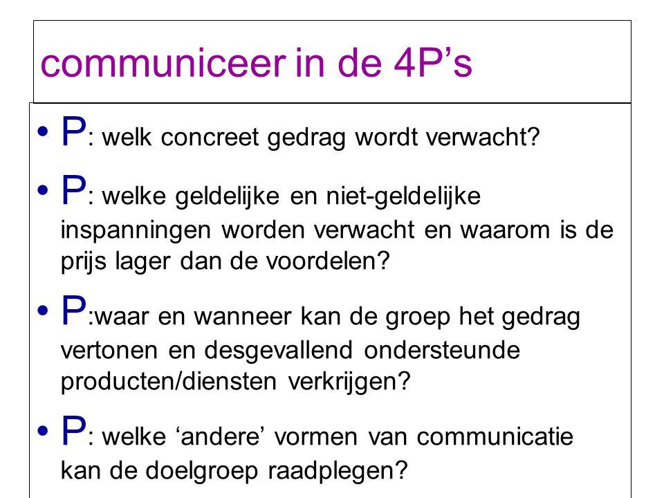 communiceer in de 4P's P: welk concreet gedrag wordt verwacht