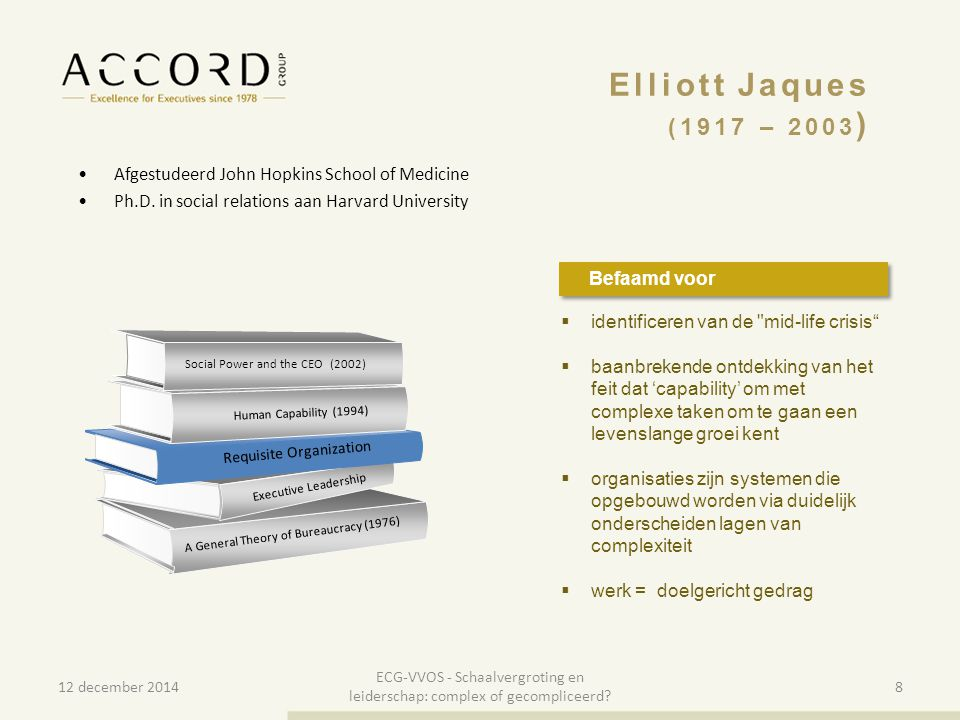 Elliott Jaques (1917 – 2003) Afgestudeerd John Hopkins School of Medicine. Ph.D. in social relations aan Harvard University.