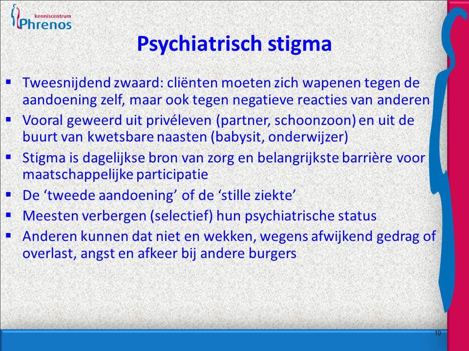 Psychiatrisch stigma Tweesnijdend zwaard: cliënten moeten zich wapenen tegen de aandoening zelf, maar ook tegen negatieve reacties van anderen.