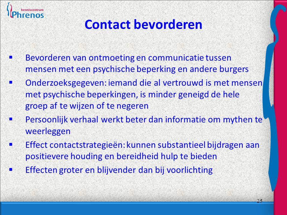Contact bevorderen Bevorderen van ontmoeting en communicatie tussen mensen met een psychische beperking en andere burgers.