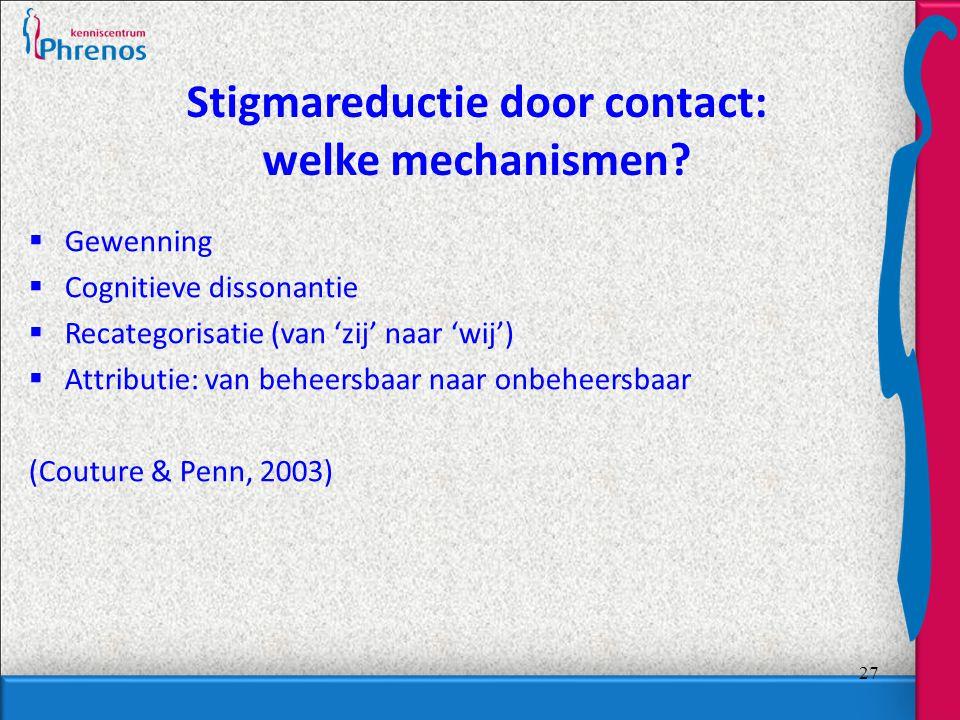 Stigmareductie door contact: welke mechanismen