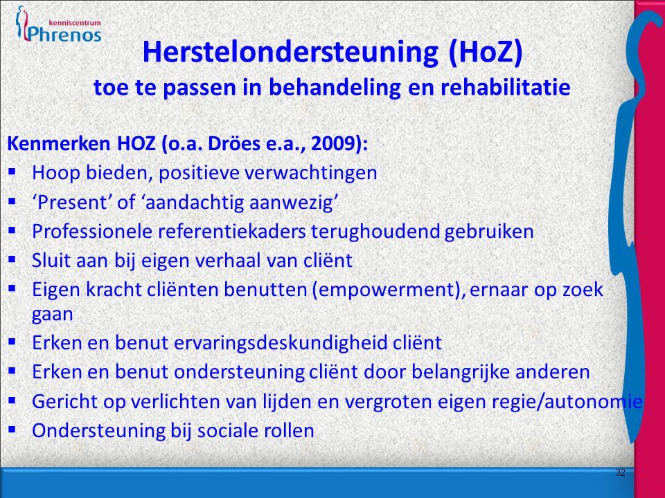 Herstelondersteuning (HoZ) toe te passen in behandeling en rehabilitatie