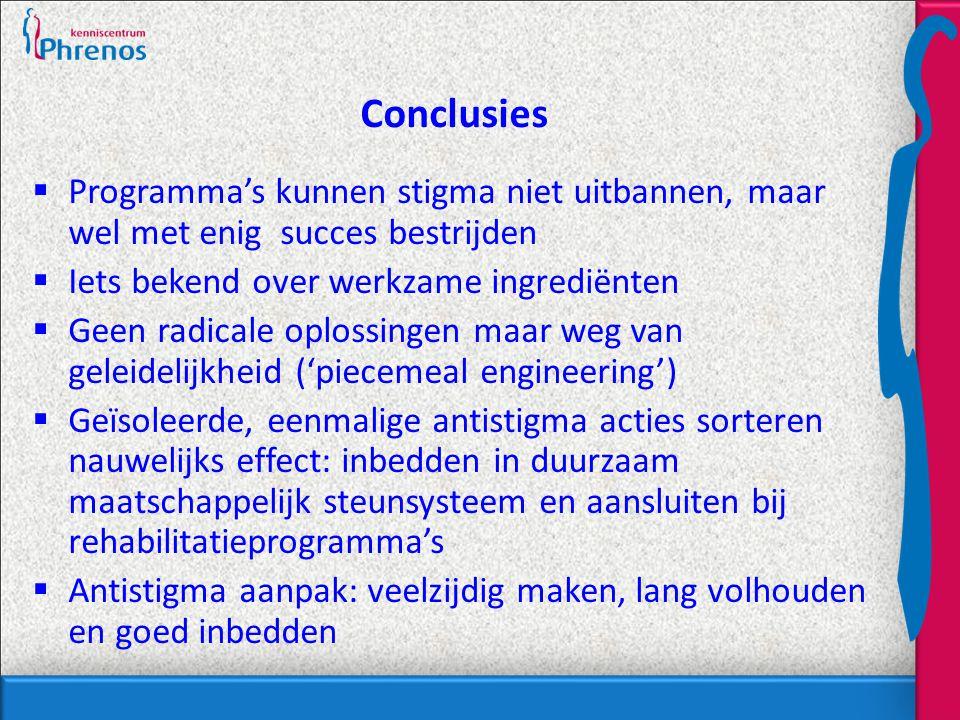 Conclusies Programma's kunnen stigma niet uitbannen, maar wel met enig succes bestrijden. Iets bekend over werkzame ingrediënten.