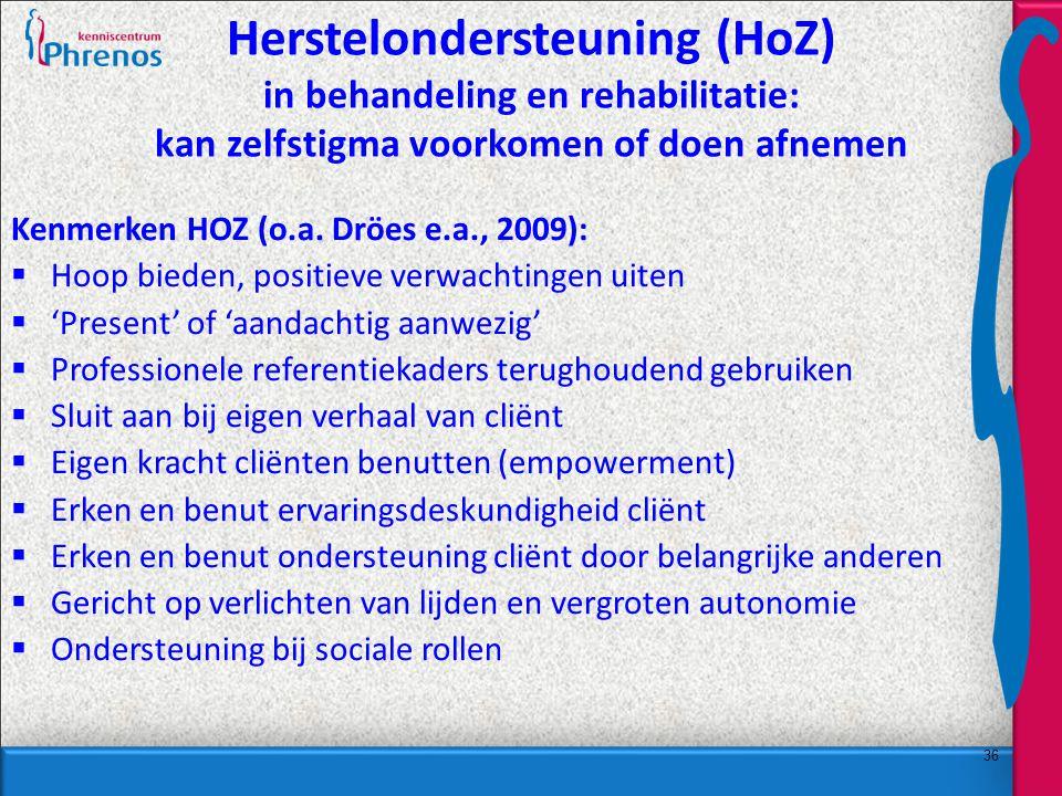 Herstelondersteuning (HoZ) in behandeling en rehabilitatie: kan zelfstigma voorkomen of doen afnemen