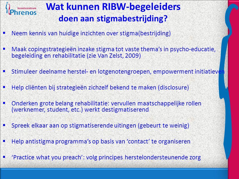 Wat kunnen RIBW-begeleiders doen aan stigmabestrijding