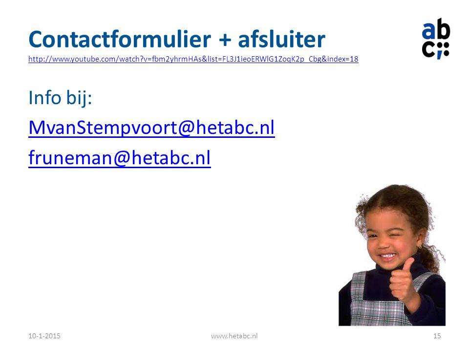 Contactformulier + afsluiter http://www. youtube. com/watch