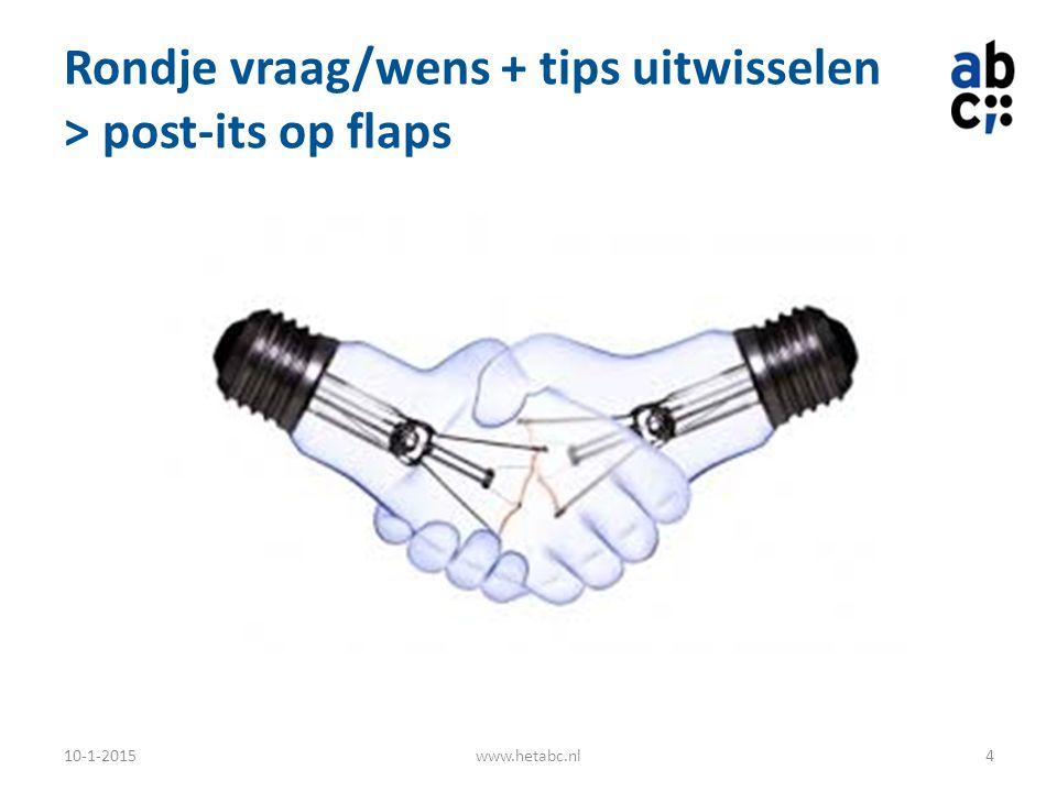 Rondje vraag/wens + tips uitwisselen > post-its op flaps