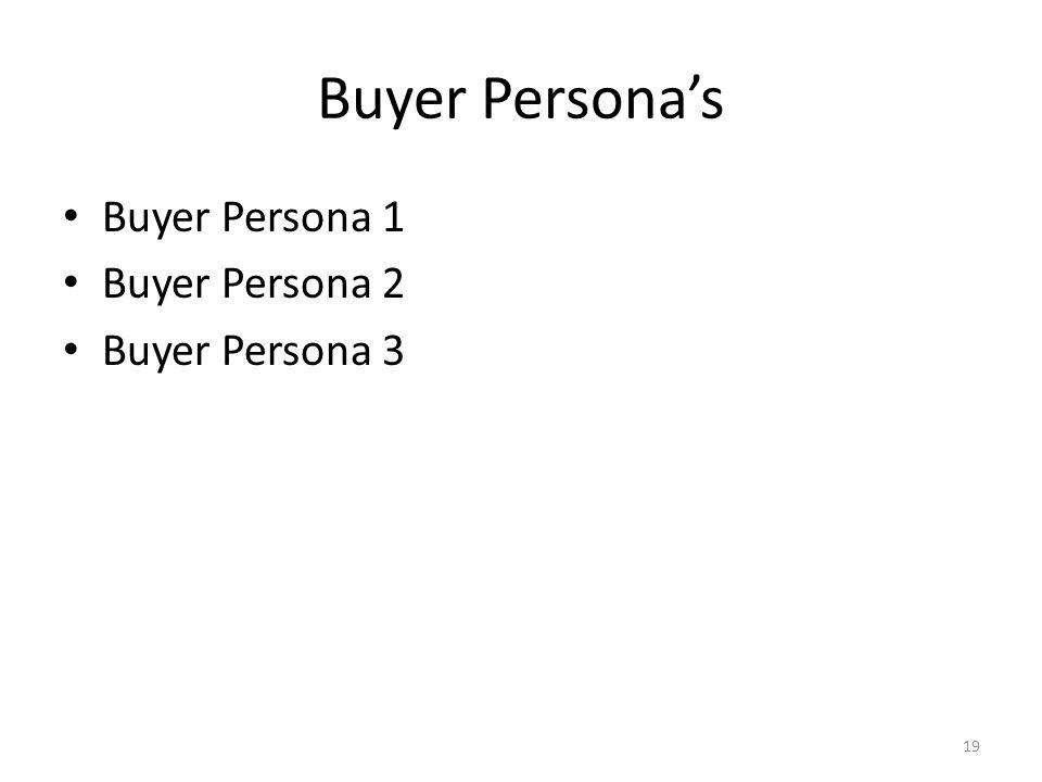 Buyer Persona's Buyer Persona 1 Buyer Persona 2 Buyer Persona 3