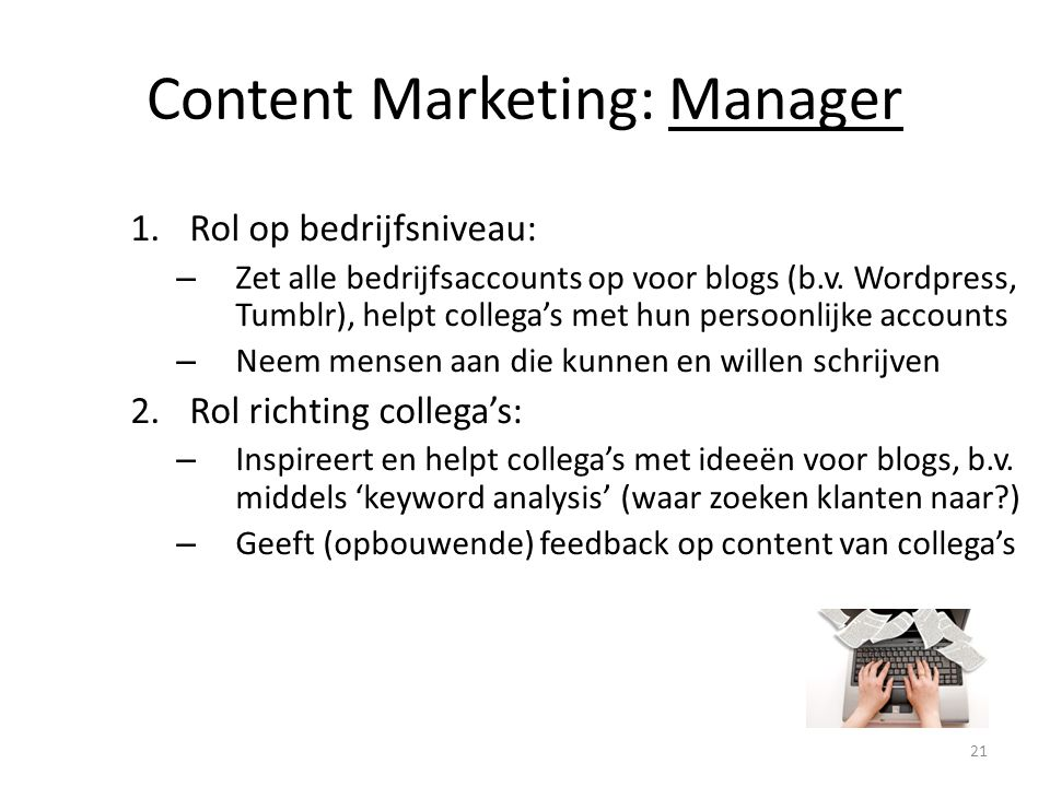 Content Marketing: Manager