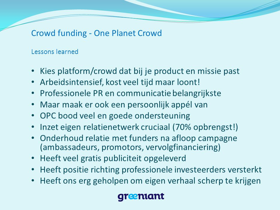 Crowd funding - One Planet Crowd